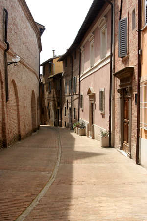 urbino: typical lane in the historical downtown Urbino, Italy