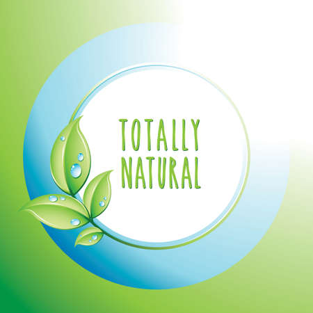Totally Natural icon, design template for cards. Ecology and biologic concept