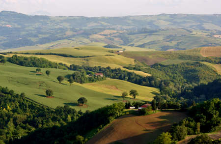Italian landscape with hills Stock Photo