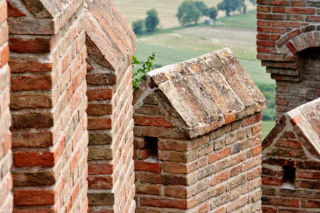 dante alighieri: Wall with battlements castle of Gradara in Marche, italy Editorial