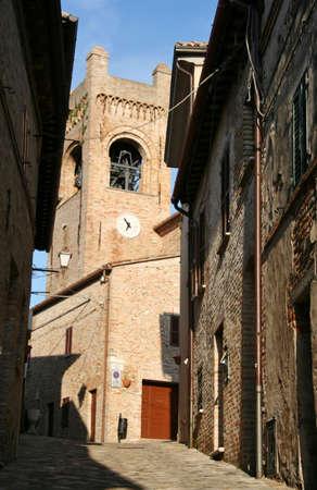 small road in Corinaldo, Marche, central italy Stock Photo