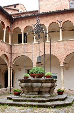 Courtyard of a renaissance palace in Corinaldo, Marche, italy Editorial