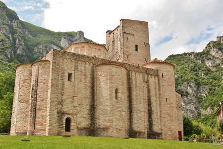Country church made by stones in Genga, Marche, Central Italy