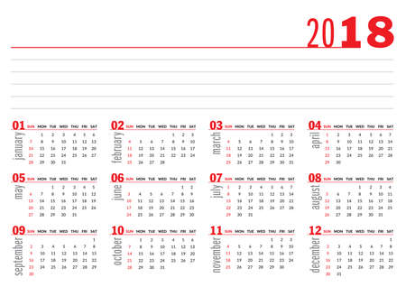 2018 basic calendar in black red grey and white royalty free