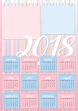 Baby style calendar 2018 pastel colours with two photos frames Ilustração