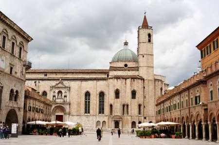 Main square with cathedral in Ascoli Piceno, Marche, Italy