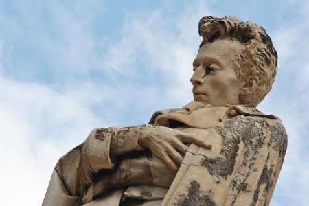 Poet Giacomo Leopardi sculptures in Recanati, Marche, Italy