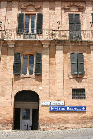 Poet Leopardis hometown palace, library and museum in Recanati, Marche, Italy Editorial