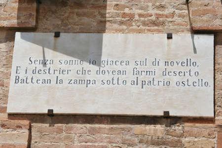 Leopardis poem on a wall cartel in Recanati, Marche, Italy
