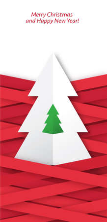 Christmas greetings card with folded paper tree