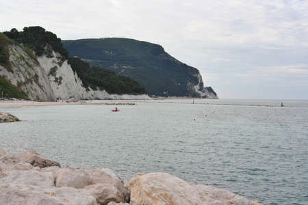 Landscape of Mount Conero promontory and bay on the sea, italy
