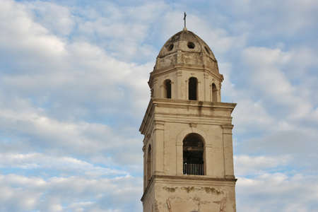 Bell tower in Marche small town, Italy