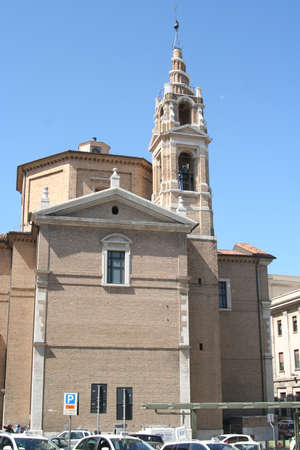 Romanic church and bell tower in Ancona Imagens
