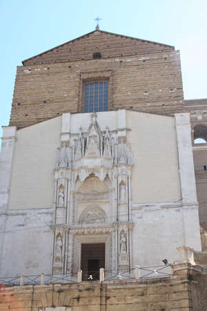 Front af an historical romanic renovated church in Ancona