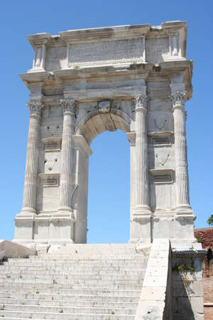 White marble roman arch in Ancona historical downtown Stock Photo