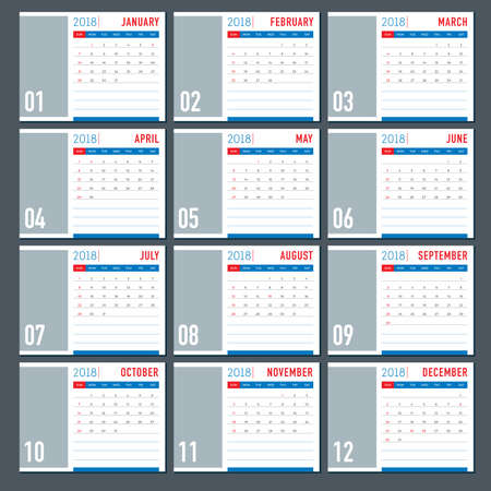 Table 2018 calendar template layout in simple flat colours