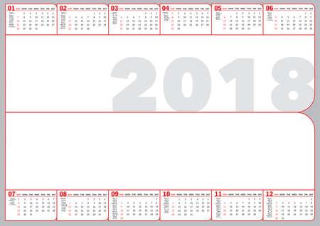 2018 folded calendar english language