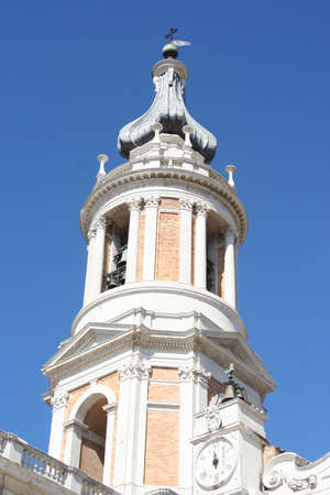 Bell tower of Loreto cathedral, Marche, Italy Imagens