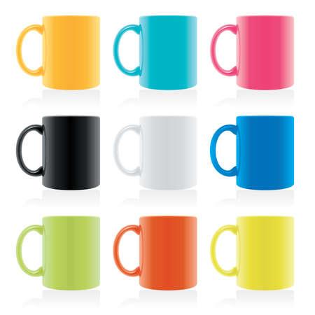 set of mixed coloured mugs Imagens - 102654189