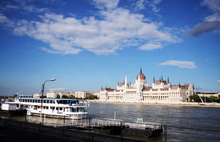 Hungarian gothic style parliament on river Danube in Budapest, Hungary Imagens - 130137373
