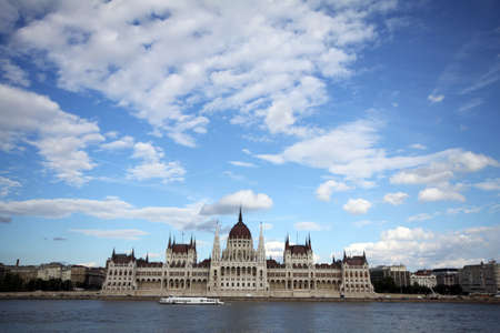Hungarian gothic style parliament on river Danube in Budapest, Hungary Imagens - 130137374