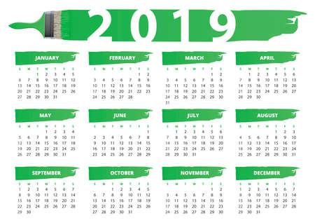 basic style brushes calendar 2019 english language Imagens - 109811757