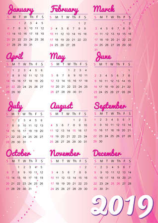 2019 calendar english language with abstract background Imagens - 108601175