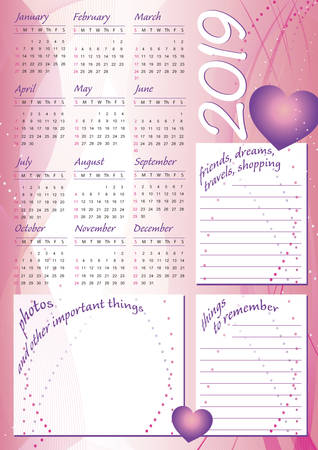 2019 wave calendar, pretty style for girls, with blank frames for text and photos, english language Imagens - 109776100