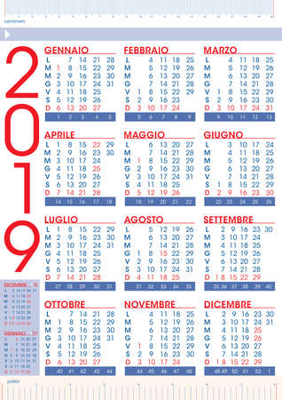commercial 2019 rules calendar in italian language with national holidays and number of weeks Imagens - 109776101