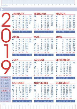 simple geometrical calendar 2019 with rulers, emglish language Imagens - 108601188