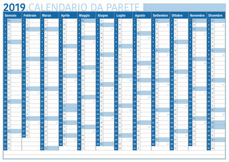 italian commercial and business wall calendar 2019 with space for text and number of weeks Imagens - 109749357