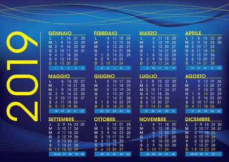 2019 calendar for italy with festivities and number of weeks, night mood colour and style Imagens - 109635864