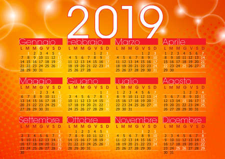 calendar 2019 orange abstract background with sparkling lights, italian language and festivity