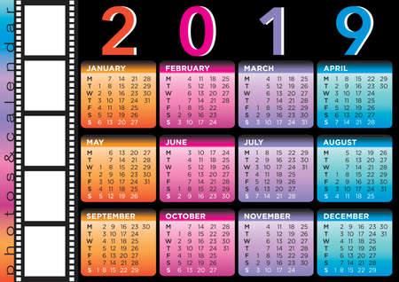 film style calendar 2019, english laguage with five photo frames, black background