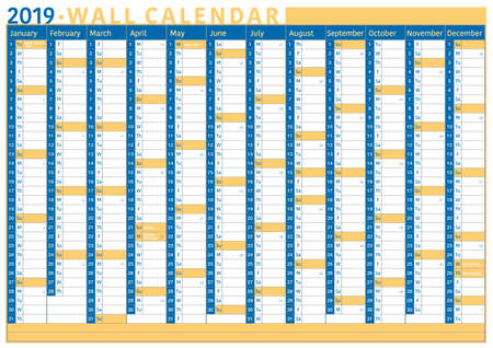 english language commercial and business wall calendar for 2019 with space for text, name of festivity and number of weeks Imagens - 127071975