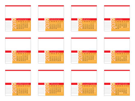 italian table calendar 2019, square size with photo frame Imagens - 126769600