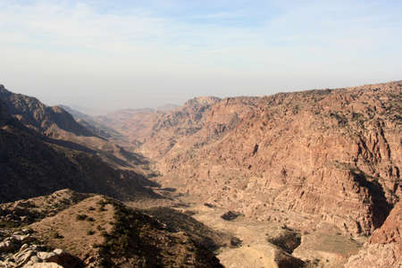landscape of a canyon in Dana Reserve, Jordan Imagens - 131786459