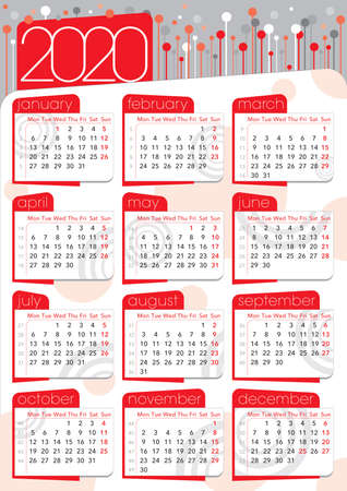 red circles and grey background abstract calendar 2020, english langiage with number of weeks Imagens - 132788221