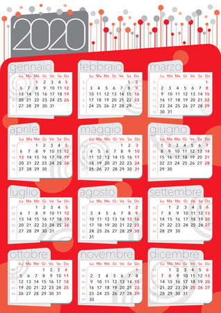 red circles and background abstract calendar 2020, italian langiage and festivity, with number of weeks, business and commercial utility Imagens - 132785014