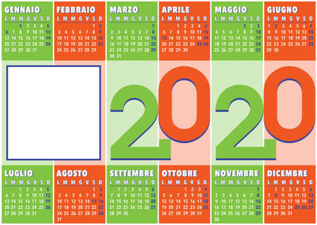 2020 calendar with vertical coloured stripes and square photo frame, italian version