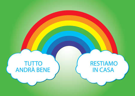 hope rainbow and white clouds for Italy, Covid-19 emergency Çizim