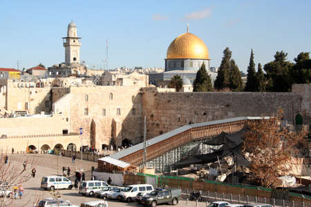 Western wall of Solomon's temple, or the cry wall, and main blue mosque in Jerusalem, Israel