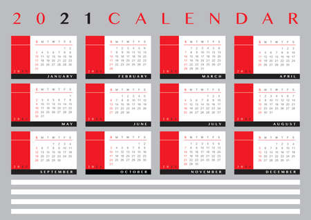 2021 calendar with blank lines for text, english language. Hoping it will be a better year  イラスト・ベクター素材