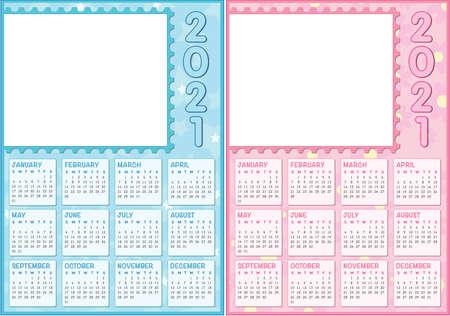 double baby calendar 2021, english language with white photo frame