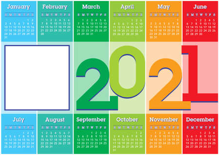 2021 calendar with vertical colored stripes and square photo frame, english laguage