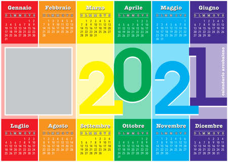 calendar 2021, with rainbow colored vertical stripes, hope new year will be better, italian language