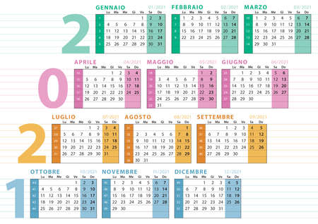 2021 italian calendar with number of week, lines to type text, seasonal division and pastel colors 向量圖像