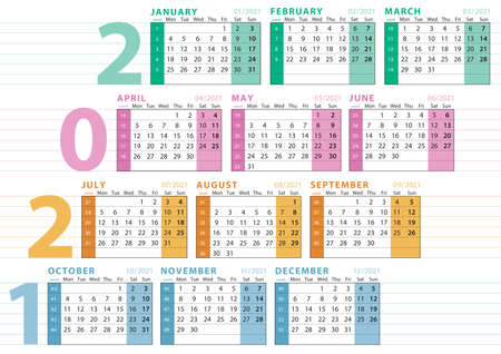 2021 english language calendar with number of week, lines to type text, seasonal division and pastel colors 向量圖像