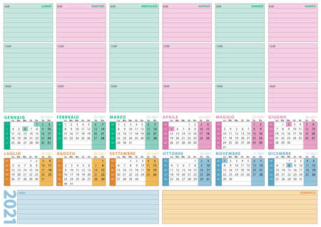 2021 planning and calendar with number of week type space and seasonal division in soft pastel colors, italian version