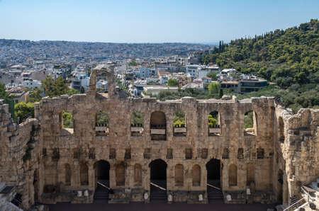 Anfiteatro di Atene Odeo di Erode Attico Veduta su Atene Archivio Fotografico